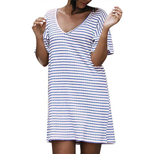 URIBAKE 2019 Women Casual Striped Print V-Neck Short Sleeve Loose Mini Dress Color Optional Blue