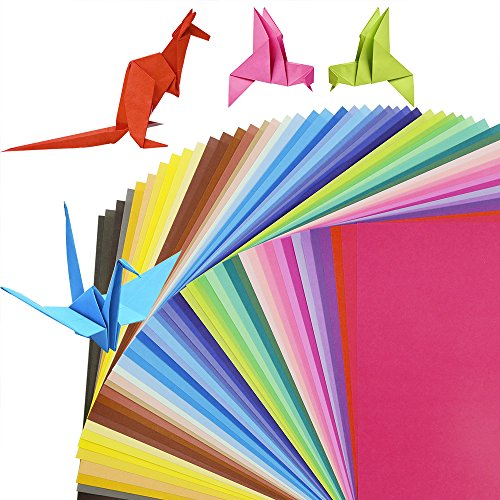 20x20cm//8,15x15cm//6 Each Size 100 Sheet Origami Paper,200 Sheets Large Origami Paper 50 Vivid Colours Single Sided for Arts and Crafts Projects