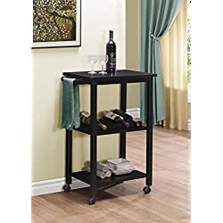 Kings Brand Furniture Wood Kitchen Storage Serving Cart Wine Rack, Black