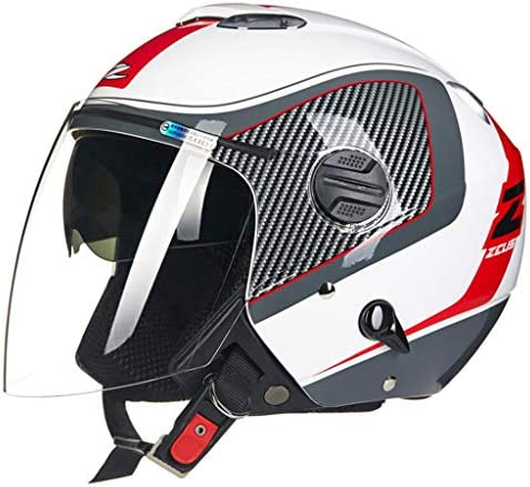 NJ ヘルメット- オートバイのヘルメット男性と女性のダブルレンズフォーシーズンユニバーサルヘルメット (色 : White red, サイズ さいず : XXXL)