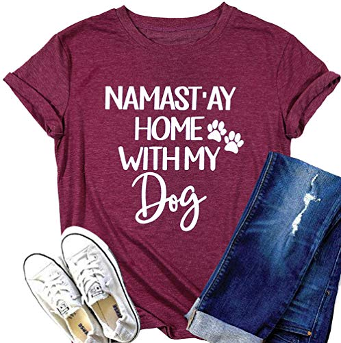 (Dog Shirts for Women Funny Namastay Home with My Dog T-Shirt Dog Paw Print Short Sleeve Tee Tops for Dog Lover Size M (Claret))