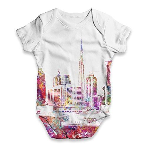 TWISTED ENVY Baby Unisex Dubai Skyline Ink Splats All-Over Print Bodysuit Baby Grow Baby Romper New Born White