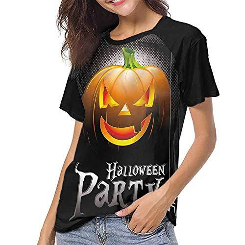 Short Sleeve Blouse,Halloween,Party Theme Scary Pumpkin S-XXL Print