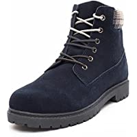 DRKA Men's Water Resistant Work Boots Comfortable Leather Plain Rubber Sole Industrial Construction Shoes