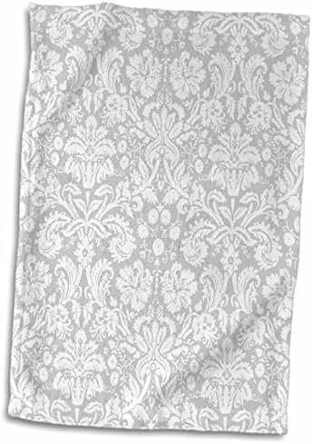 3dRose InspirationzStore Damask patterns - Silver and white damask pattern - grey gray - fancy french floral swirls - stylish classy elegant - 15x22 Hand Towel (twl_151416_1)