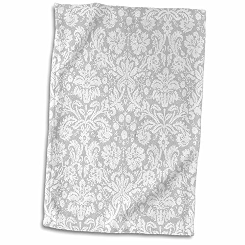 Damask Hand Towel - 3D Rose Silver and White Damask Pattern-Grey Gray-Fancy French Floral Swirls-Stylish Classy Elegant Towel, 15