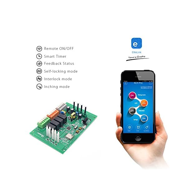 Sonoff 4CH Pro- Interruptor de enclavamiento para generador, Avance/Autobloqueo Interruptor inalámbrico WiFi & RF 90… 2 spesavip