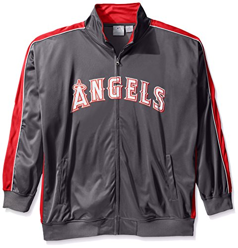 Angel Track Jacket (MLB Los Angeles Angels Men's Team Reflective Tricot Track Jacket, 2X/Tall, Charcoal/Red)