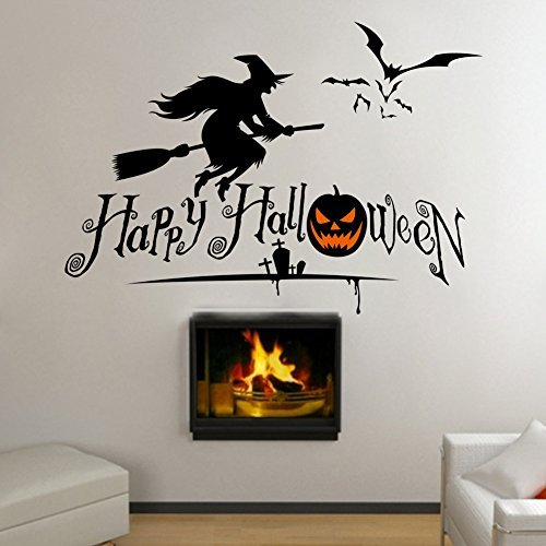 Boodecal Happy Halloween with Flying Witch and Bats Art Design for House Decoration Removable Halloween Series Wall Decals