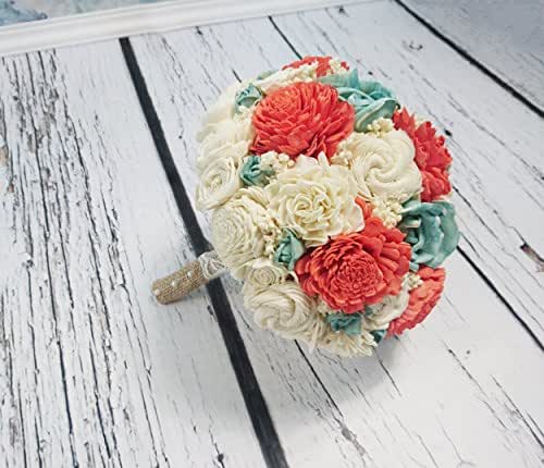 Whole Foods Wedding Bouquet: Amazon.com: Bridal Bouquet In Coral Reef Mint And Ivory