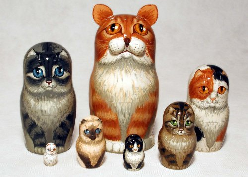 Orange Tabby Cat Nesting Doll 7pc./8'' by Golden Cockerel (Image #1)