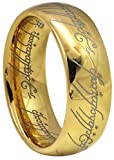Crownal 8mm 6mm Gold Blue Black Color Lord Of The Rings Tungsten Carbide Comfort Fit Size 4 To 16(Gold 8mm,11)