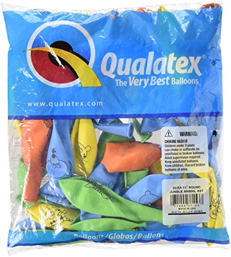 LA Balloons 37153''Jungle Animal'' Qualatex Assortment Latex Balloons (50 Pack), 11'', Multicolor by Qualatex