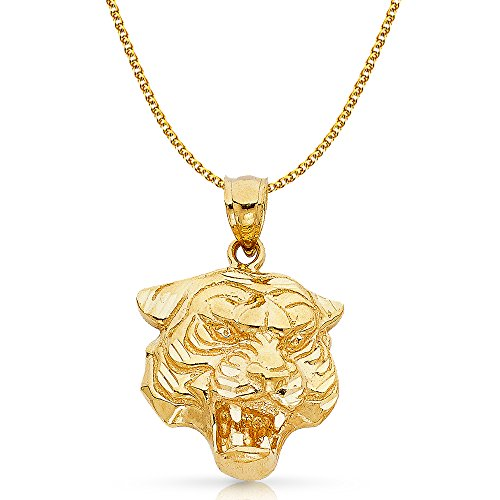 Ioka Jewelry - 14K Yellow Gold Tiger Charm Pendant with 2mm Flat Open Wheat Chain Necklace - 24