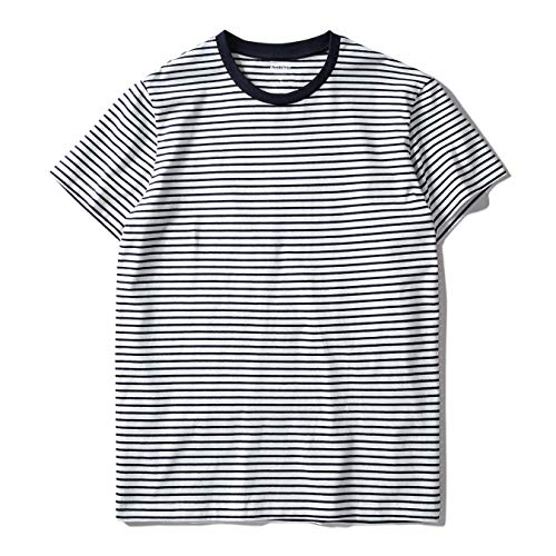 Zengjo Essential Stripes T-Shirts Comfort Short-Sleeve Crew-Neck Striped Tee Top (L, White & Navy Stripes) -