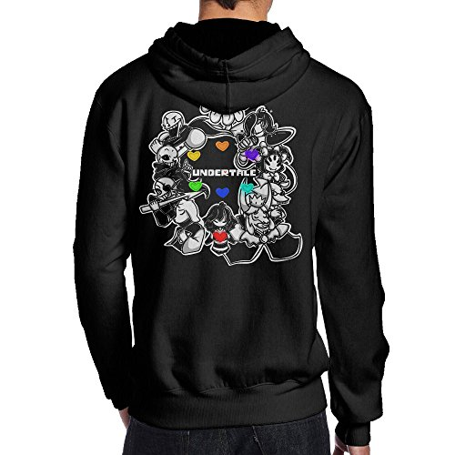 JIMI メンズ 個性的な アンダーテール ゲーム キャラ ヒマワリ 丸い デザイン スウェットシャツ フード付き スポーツ プルオーバーパーカー Black