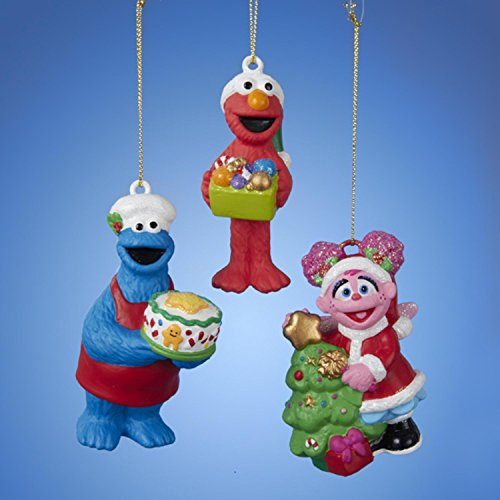 Set of 3 Sesame Street Cookie Monster, Elmo and Abby Ornaments