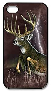 iPhone 4s Case, iPhone 4s Cases -Deer Lightening Polycarbonate Hard Case Back Cover for iPhone 4/4S Black