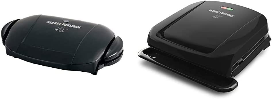 George Foreman 5-Serving Removable Plate Electric Indoor Grill and Panini Press, Black, GRP0004B & 4-Serving Removable Plate Grill and Panini Press, Black, GRP1060B