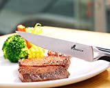 Steak Knife Set 2-Piece Newpow Extra Fine Serrated Edges Lasts a Lifetime, German 1.4116 Stainless Steel - SGS LFGB - Certification, Steak Knives Dishwasher Safe