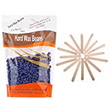 Korlin Hair Removal Wax Kit Hard Wax Beans and Wax Applicator Sticks (Lavender)
