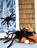 jollylife 2PCS Fake Giant Spider Halloween Decorations Black - Outdoor Yard Haunted House Party Decor Supplies