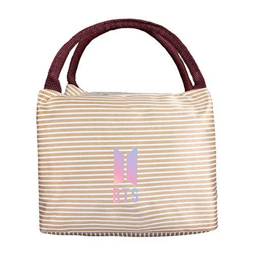 Havenport Kpop Blackpink Bts Twice Wanna One Got7 Monsta X Seventeen Exo reusable Insulated Lunch Box Striped Insulation Pouch Lunch Bag with Zipper(BTS-1)