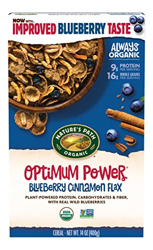 Natures Flax Cereal Path - Nature's Path Organic Cereal, Optimum Power Blueberry Cinnamon Flax, 14 Ounce Box (Pack of 6)