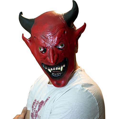 The Mask Biz Devil Head Mask with Horns Diablo]()