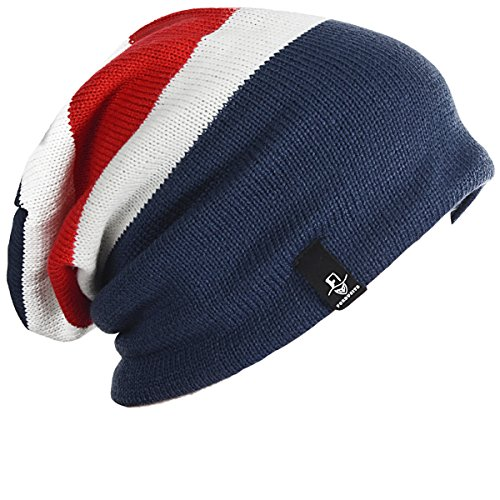 - FORBUSITE Mens Slouchy Long Oversized Beanie Knit Cap for Summer Winter B08 (Navy/Red/White)