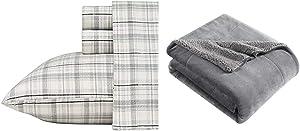 Eddie Bauer Home   100% Cotton Flannel Sheet Set, Queen, Beacon Hill + Signature Reversible Sherpa Throw, Smoke Grey