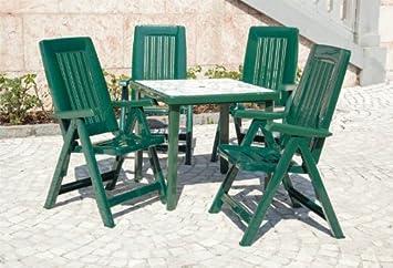 Table de jardin, plastique, set 5 pièces, 80x80 cm avec 4 chaises ...