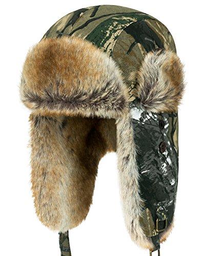 ililily Howels Camouflauge Faux Fur Lining Cotton Aviator Trapper Trooper Hat, Woodland