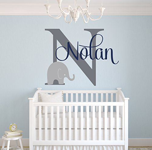 Custom elephant name wall decal for boys baby boys room for Baby name nursery decoration