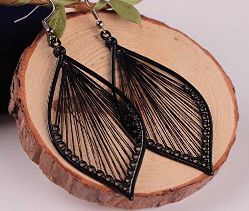LittleB Handmade Earring Studs Silk Alloy Black Earrings in Ellipse for Women and Girls.