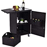 BS Outdoor Kitchen Trolley Portable Wicker Rattan Cart with Storage Shelf & Baskets Foldable Choping Board Toughened Glass Countertop Patio Garden Pool Parties Dining Cabinet & eBook by BADA Shop