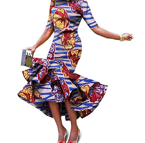 Women Tunic 19 Swing Dresses 2XL Dashiki Empire Printed African Coolred Step Waist d0qwFBOdZx