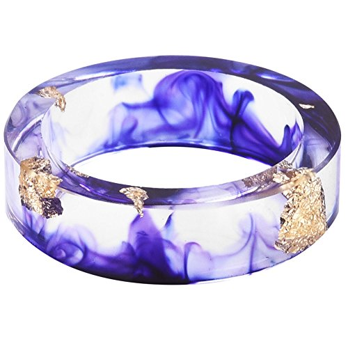 Purple Plastic Band - Jude Jewelers 8mm Ocean Style Transparent Plastic Resin Wedding Band Cocktail Party Ring (Purple, 6)