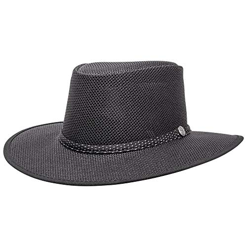 SOLAIR HATS Cabana by American Hat Makers Mesh Leather Hat, Black - Medium