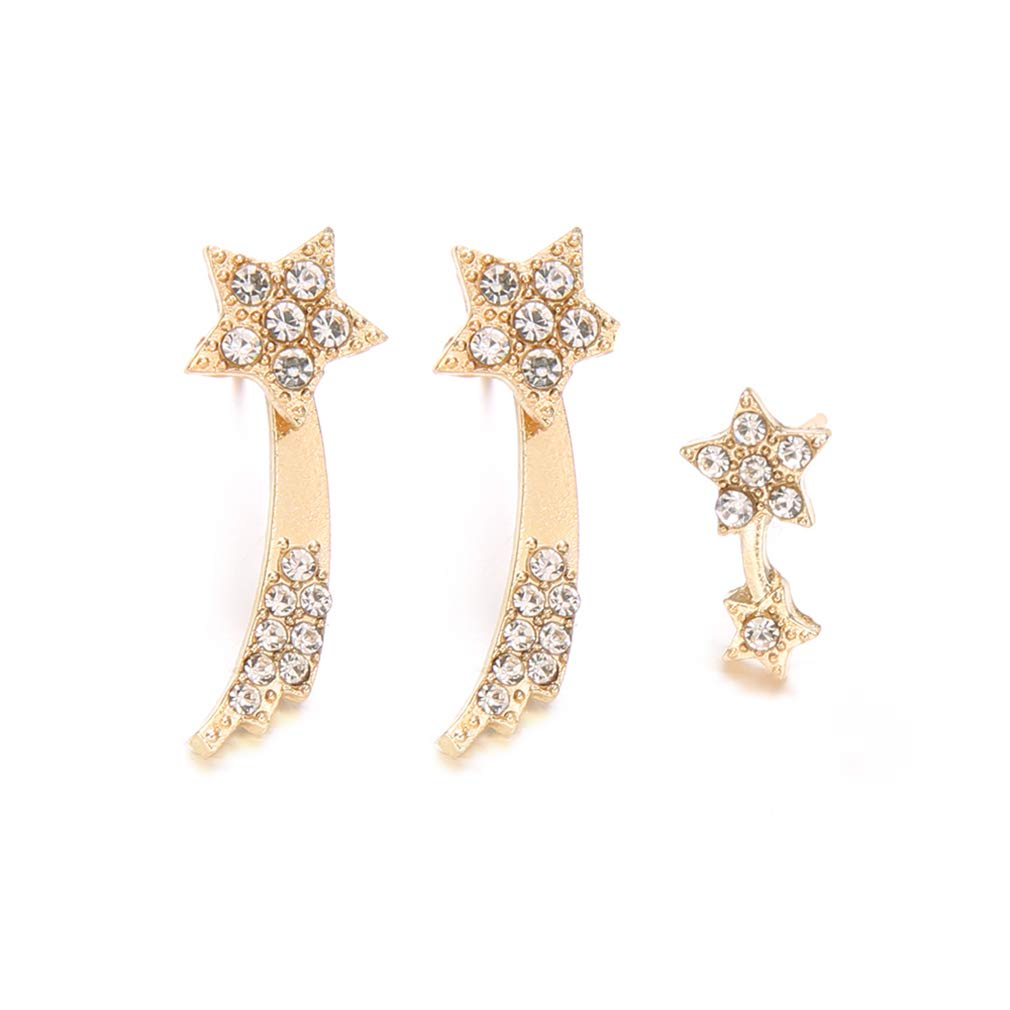 MOONQING 3Pcs Star Earrings Set Sparkling Five-Pointed Star Rhinestone Crawler Style Elegant Geometric Earrings Creative Comet Jewelry