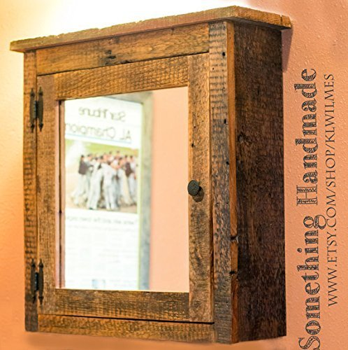 Barn wood Medicine cabinet with mirror made from 1800s reclaimed barn wood this is a rustic cabinet shows saw marks nail holes knots