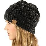 CC Winter Trendy Soft Cable Knit Stretchy Warm Ribbed Beanie Skully Ski Hat Cap Metallic Black/Black