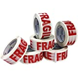 BoxMates Fragile Printed Tape 2.0mil 2inch Wide 110 Yards - White/Red - 6Roll for Packing Moving Shipping&Storage Warehouse