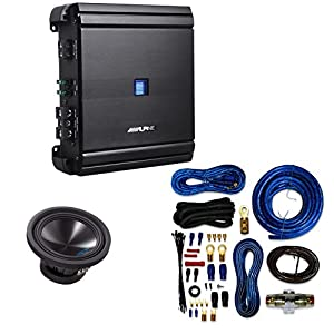 Alpine SWS10D4 / SWS-10D4 / SWS-10D4 Type-S 10 Car Subwoofer+ Alpine MRV-M500 Mono V-Power Digital Amplifier With 4 Gauge AMP Kit