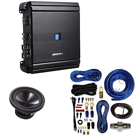 Alpine SWS10D4 / SWS-10D4 / SWS-10D4 Type-S 10 Car Subwoofer+ Alpine MRV-M500 Mono V-Power Digital Amplifier With 4 Gauge AMP (Crossover 8 Ohm Speaker 2 Ohm)