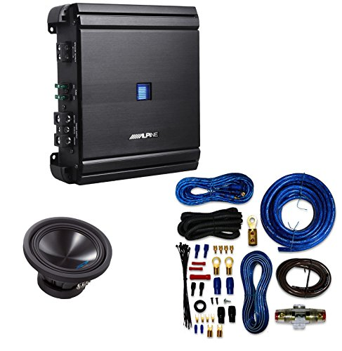 Alpine SWS10D4 / SWS-10D4 / SWS-10D4 Type-S 10 Car Subwoofer+ Alpine MRV-M500 Mono V-Power Digital Amplifier With 4 Gauge AMP Kit (Car Alpine Speakers Midrange)