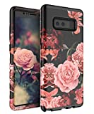 TIANLI Samsung Galaxy Note 8 Case Cute Flowers for Girls/Women Smooth Surface Three Layer Shockproof Protective Cover,Floral Black