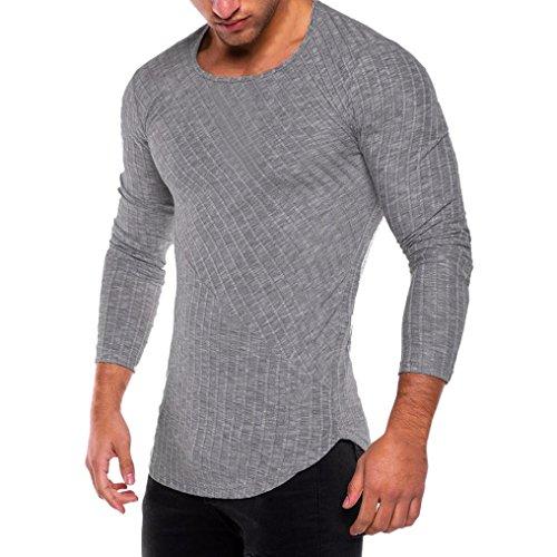 3ae473f69e6 Cinnamou Hombre Camiseta Sin Etiqueta con Mangas Largas de Algodón slim fit  o cuello durable service