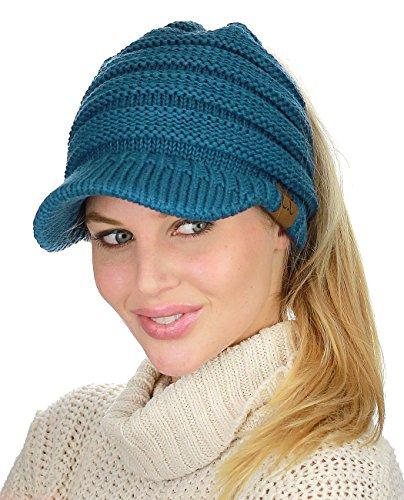 C.C BeanieTail Warm Knit Messy High Bun Ponytail Visor Beanie Cap, Teal ()