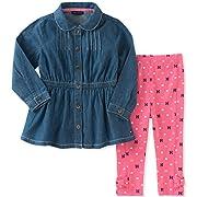 Tommy Hilfiger Baby Girls' Tunic Legging Set, Chambray/Pink swizzle, 6-9 Months